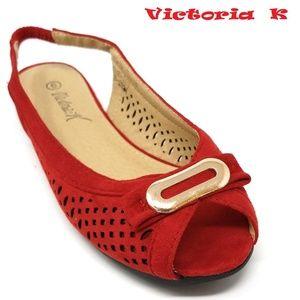 Slingback Open Toe Ballet Flats, B-2621, Red